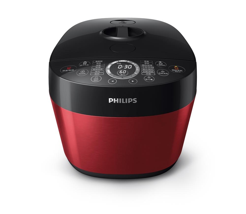 圖說一:飛利浦雙重溫控智慧萬用鍋(HD2143)搶先全球在台紅動上市,摩登時尚新色「都會紅」的外型搶眼亮麗。