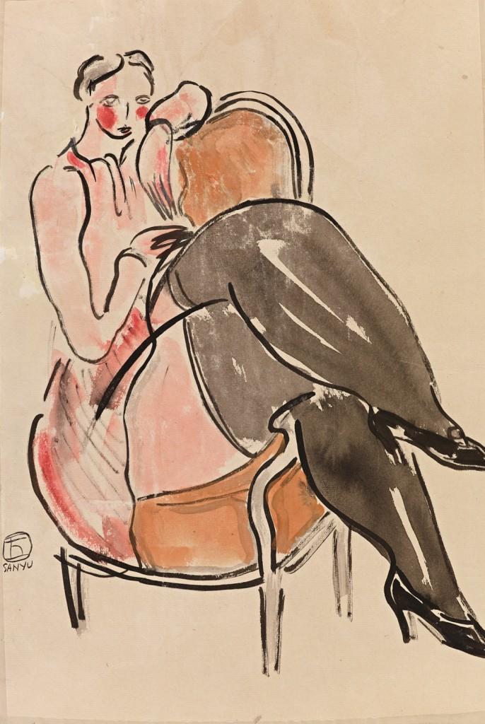 常玉Sanyu_側坐在扶手椅上女士Seated Lady on an Armchair_水彩.紙本watercolor on paper_45 x 30 cm