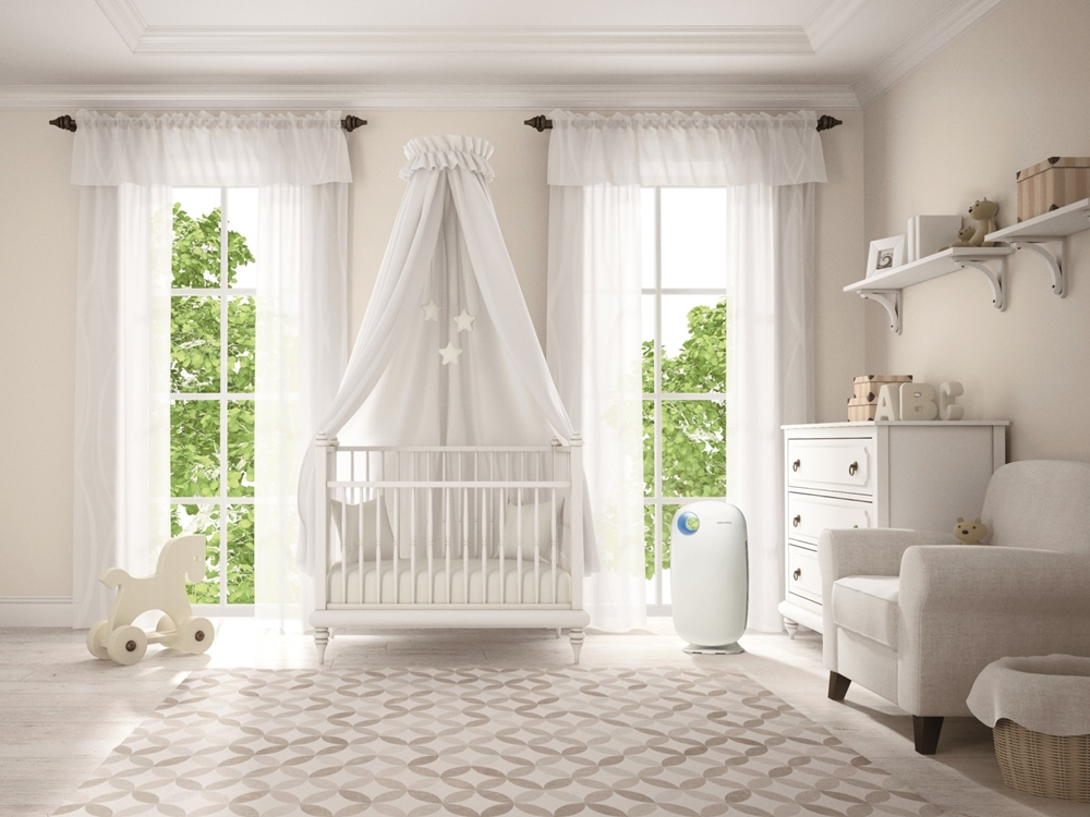 Classic children room with cradle 3D rendering