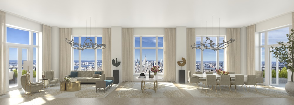30 Park Place - Four Seasons Private Residences Downtown, New York Living Room (75A)