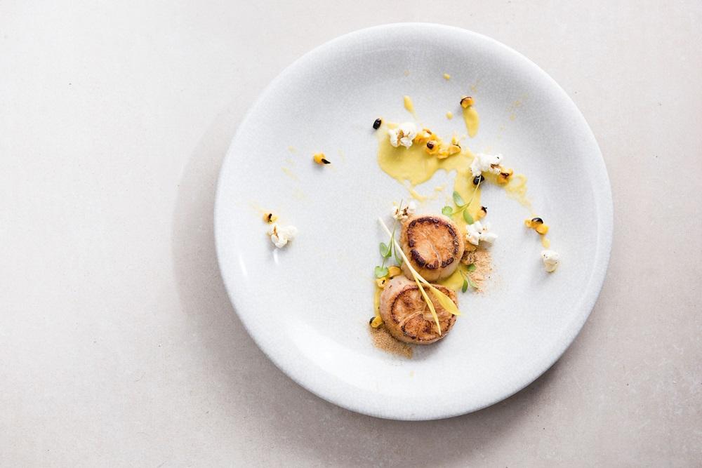 ACHOI春季新菜-香煎干貝、甜玉米、玉米餅、香菜