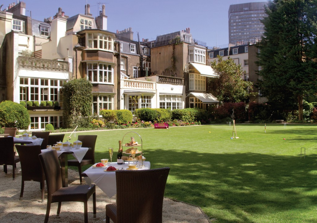 Afternoon tea is served in the garden at The Goring, London, in the sum...