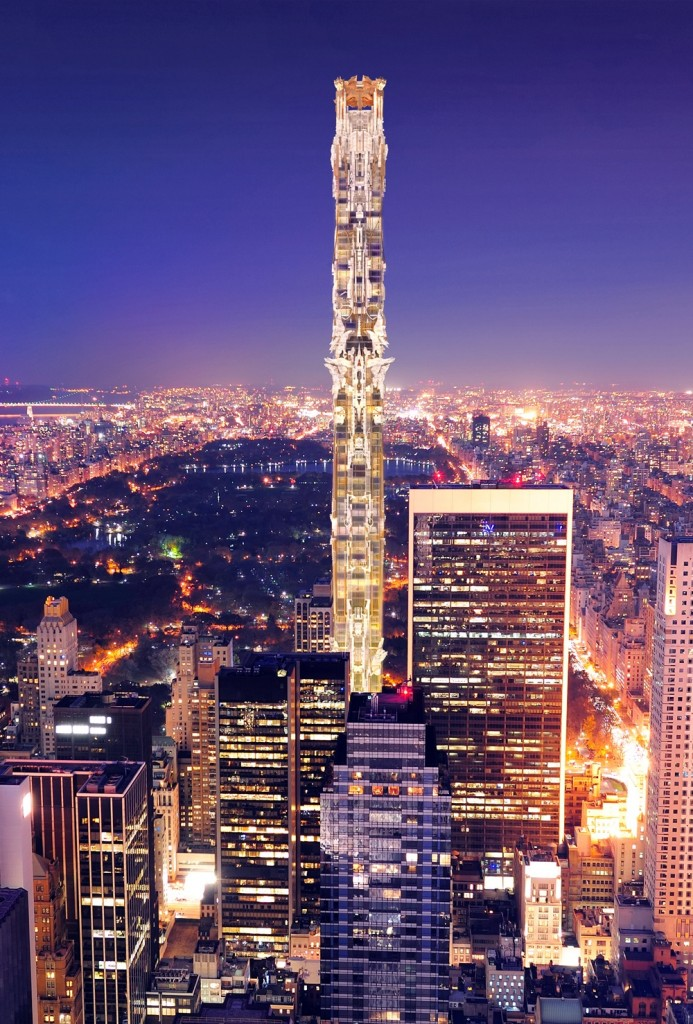 Mark Foster Gage Architects - West 57th Street - Night Elevation