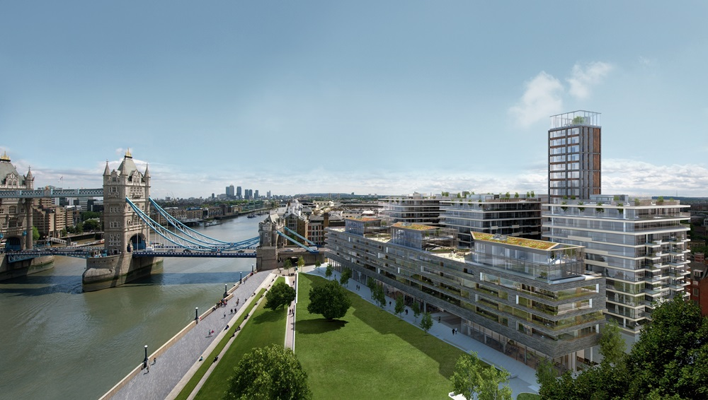 Exterior CGI of View B at One Tower Bridge Development