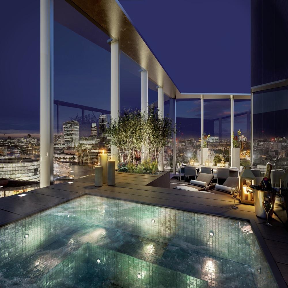 CGI of The Tower Hot Tub at Night