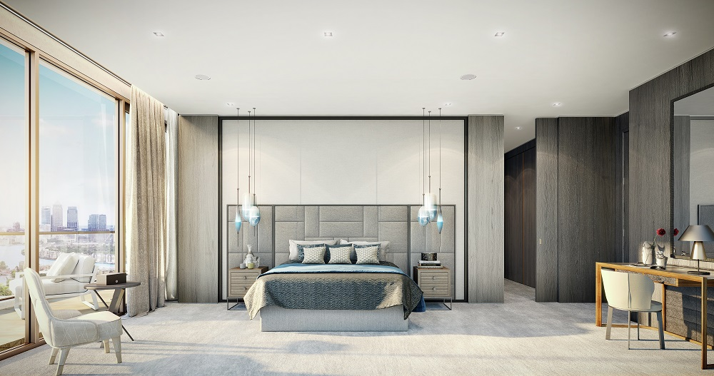CGI of London Dock Penthouse Master Bedroom