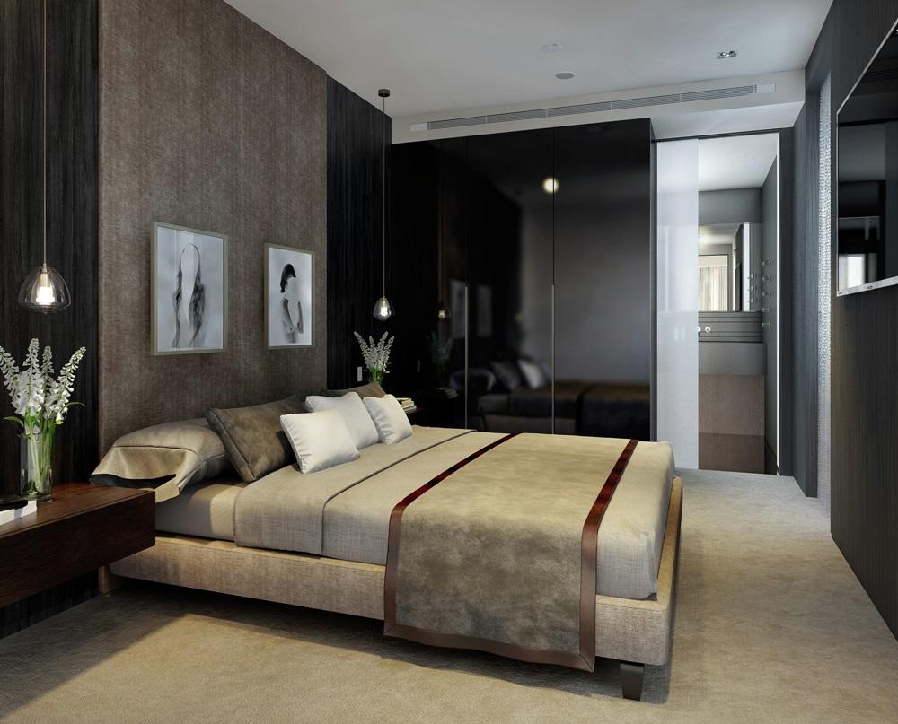 CGI of The Duplex Master Bedroom Dark Option