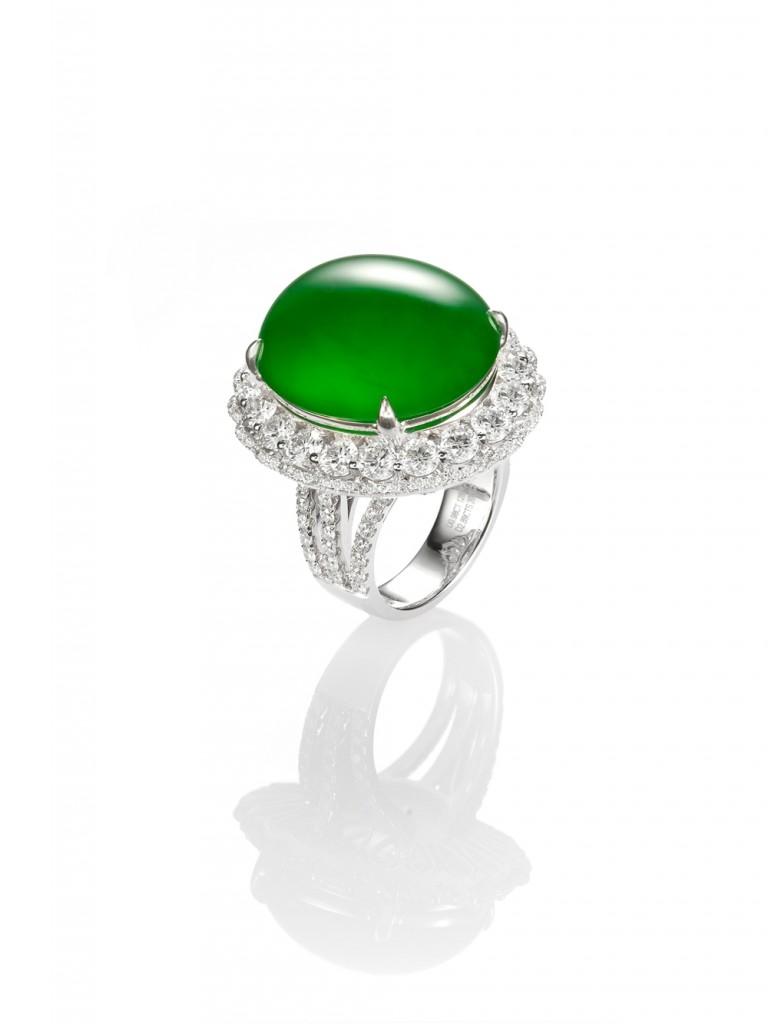 2.老坑玻璃種蛋面翡翠鑲鑽戒指,非賣品