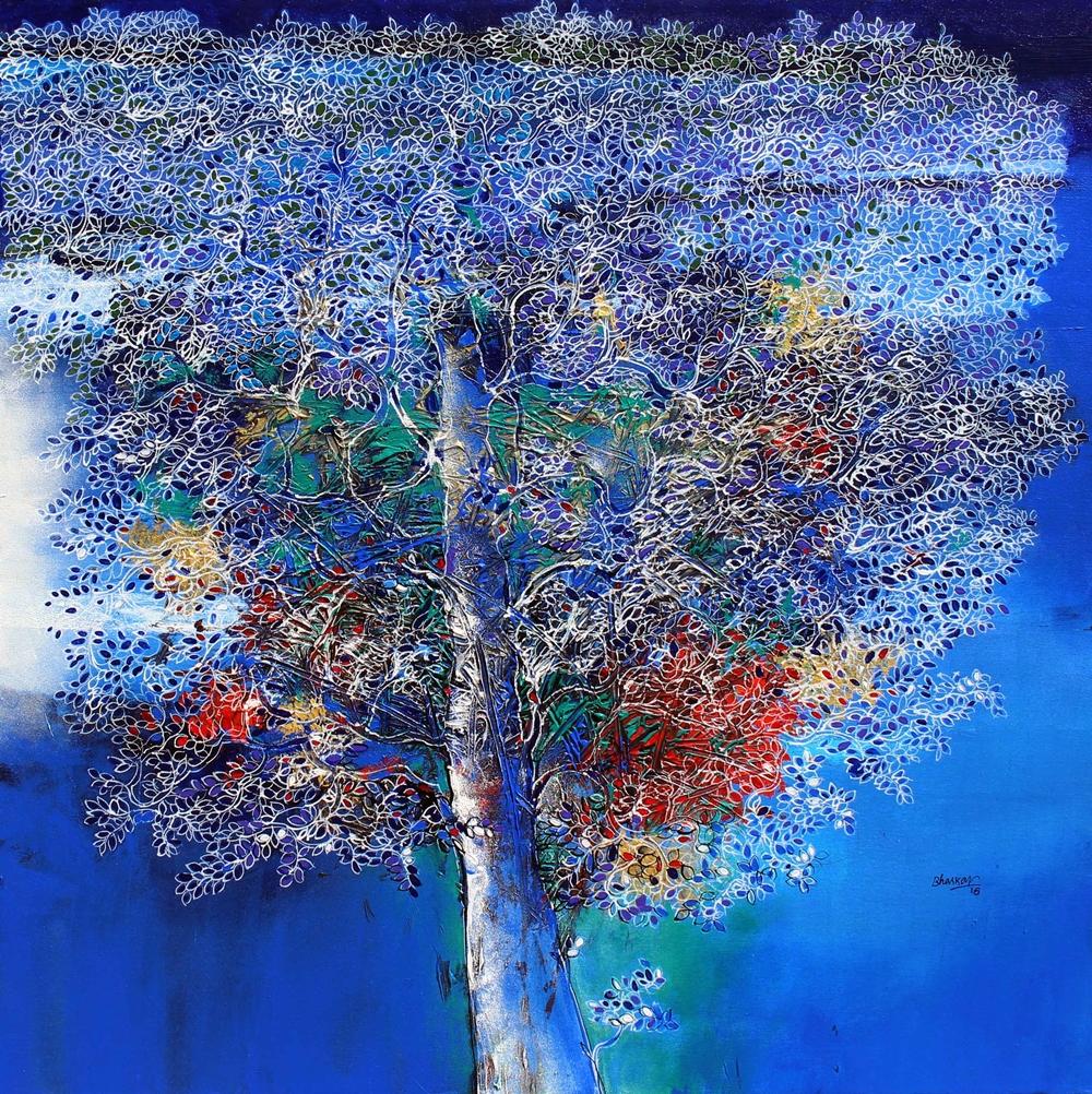 Bhaskararao. Botcha《Heaven of tree III》Acrylic on Canvas_91×92cm_2016_印度