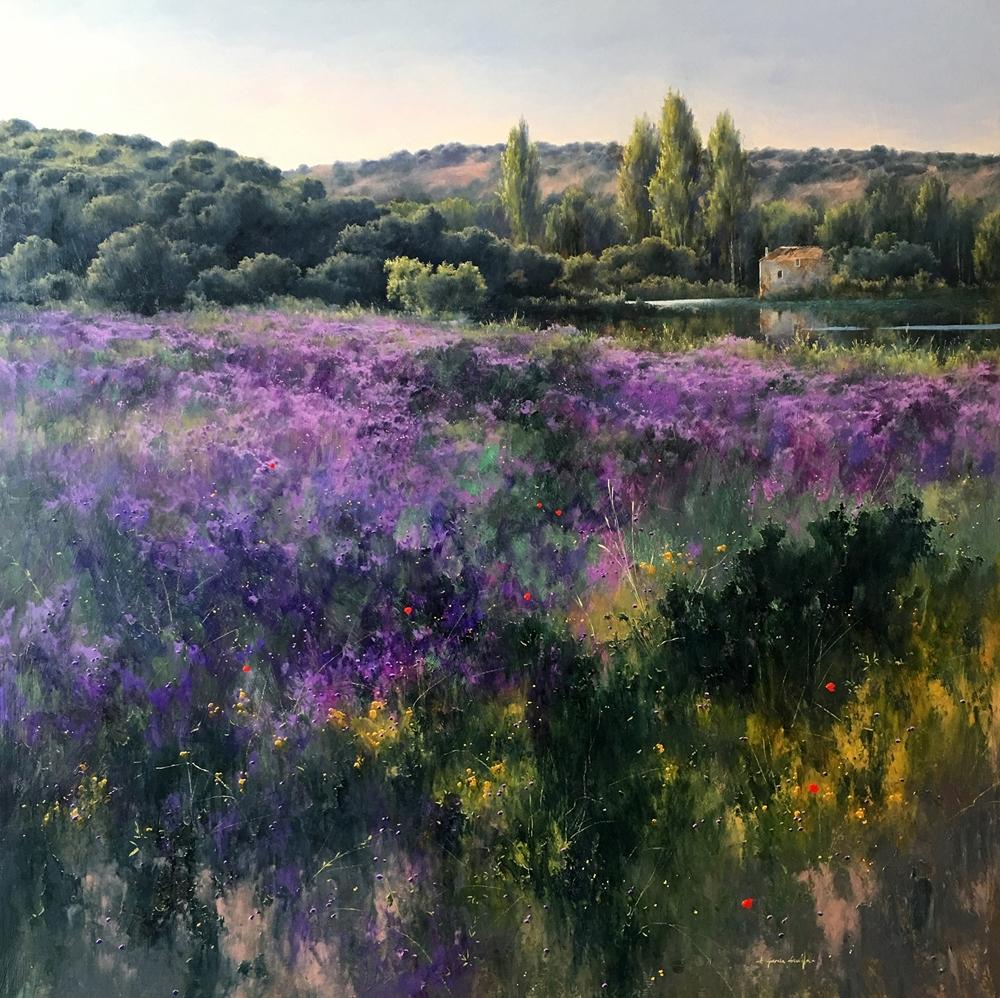 Fermin Garcia Sevilla《Violetas》Oil on Panel_90×90cm_2016_西班牙