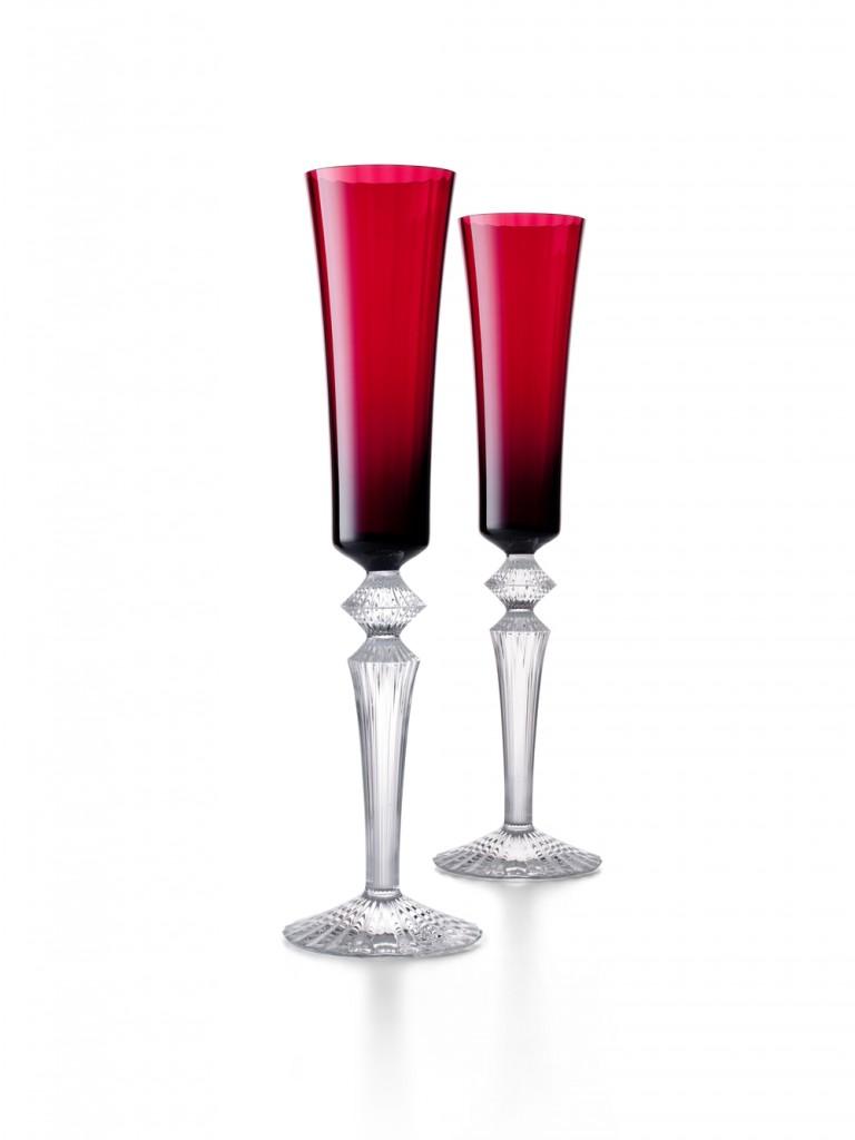 Baccarat MILLE NUITS香檳杯紅寶一對H29CM