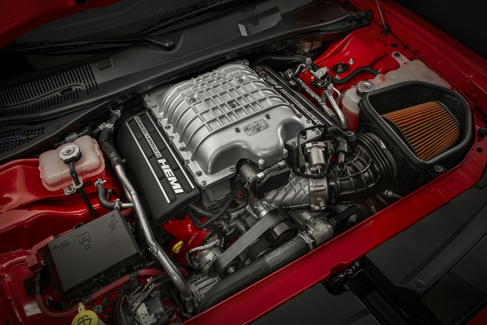 Under the hood of the 2018 Dodge Challenger SRT Demon is a 6.2-liter supercharged HEMI® Demon V-8 engine.