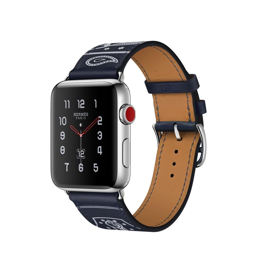 第三代愛馬仕 Apple Watch Hermès_Éperon d'Or 圖紋印花 38 或 42 mm錶殼_單圈 Gala小牛皮錶款-2 (1)