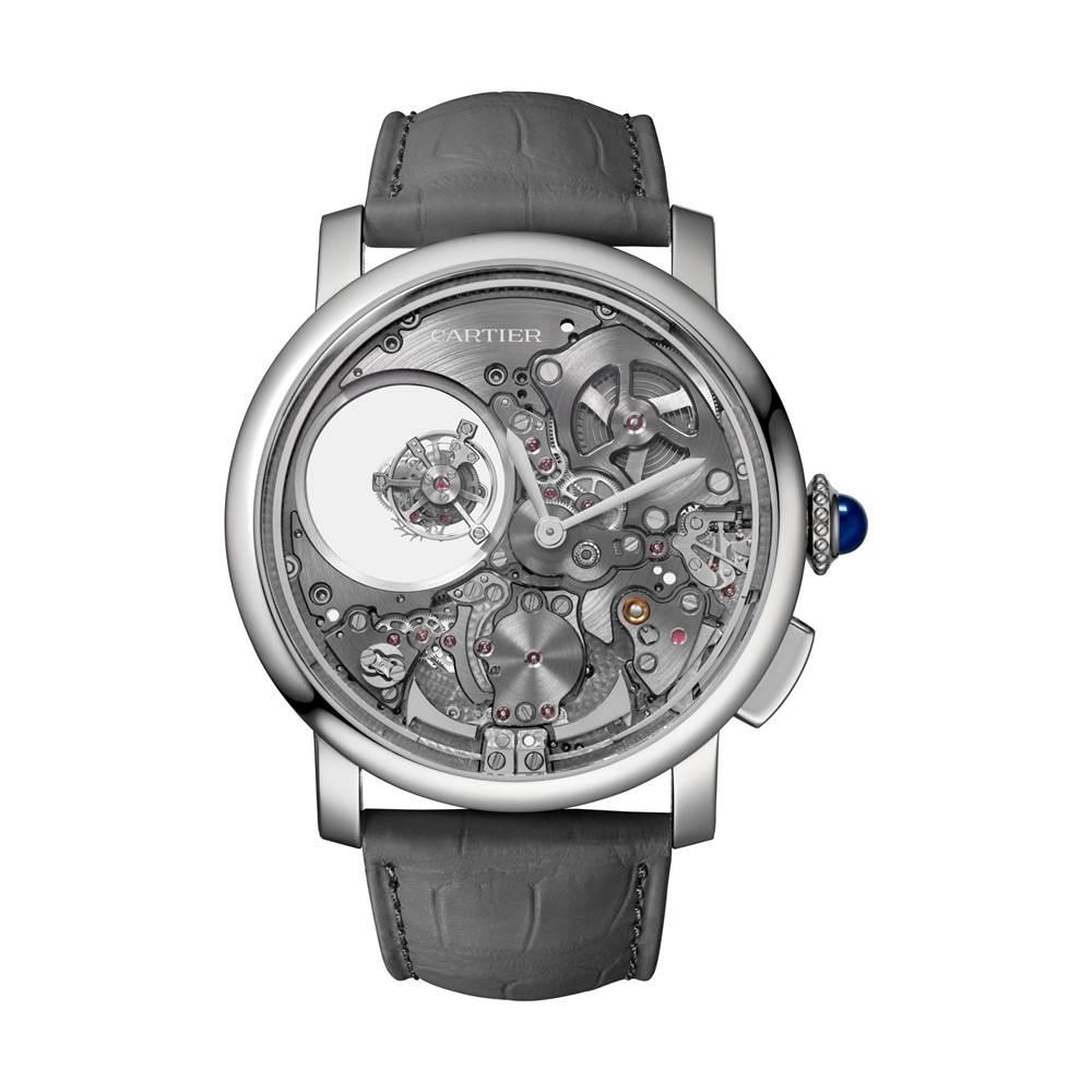 Rotonde de Cartier 三問雙重神秘陀飛輪腕錶-白底