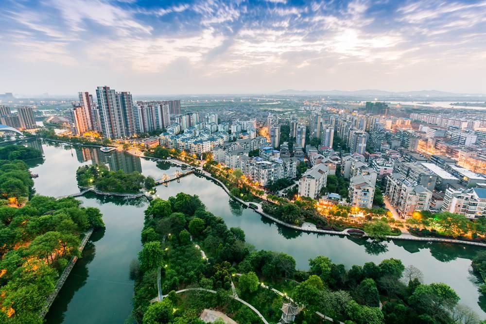 bird view of fuzhou city , Fuzhou city, Jiangxi Province, China