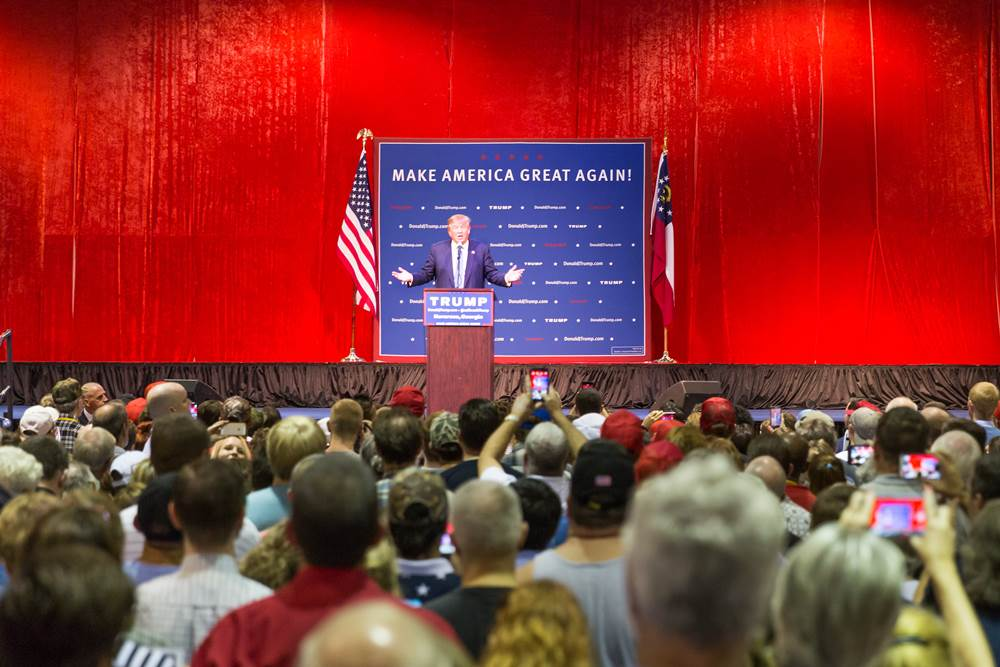 Norcross, GA, USA - October 10, 2015: Presidential candidate and Republican party nominee Donald Trump giving a speech at a rally in Georgia
