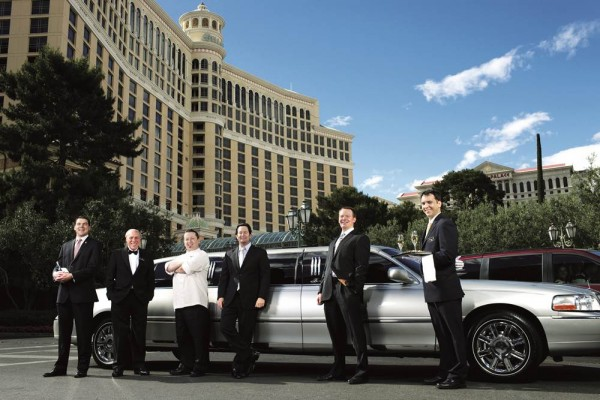 10 May 2011, Las Vegas, Nevada, USA --- From in room private chefs to your personal casino host the Bellagio caters to all of it's guests VIP services. Justin Manacher VP of National Marketing, Blake McDonald casino host, Nikolaj Velimirovic villa servises butler, Jerry Colianni Baccarat dealer, Jason Smith wine director, Brad Skougard in-room dining exec. chef. --- Image by ?Jared McMillen/Aurora Photos/Corbis