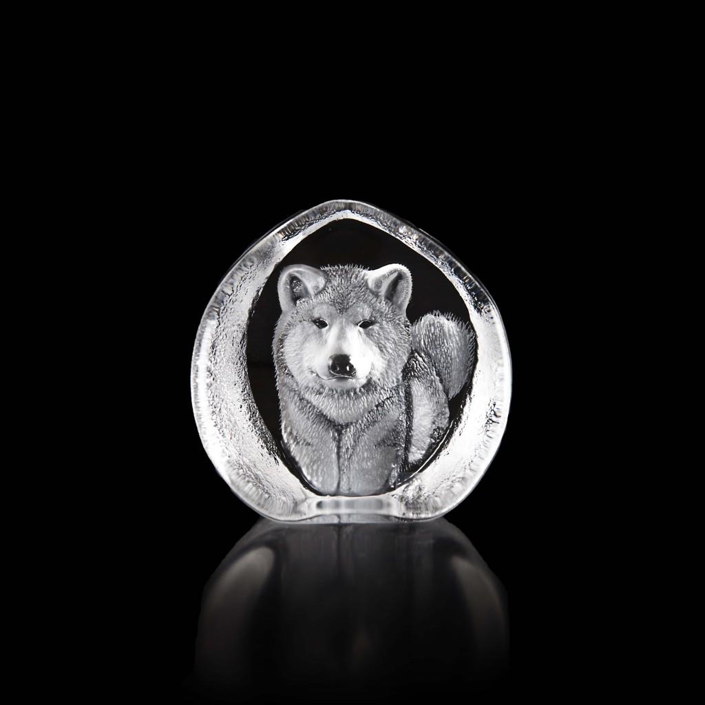 居禮_Mats Jonasson手工雕刻水晶秋田忠犬_特價NT2,700