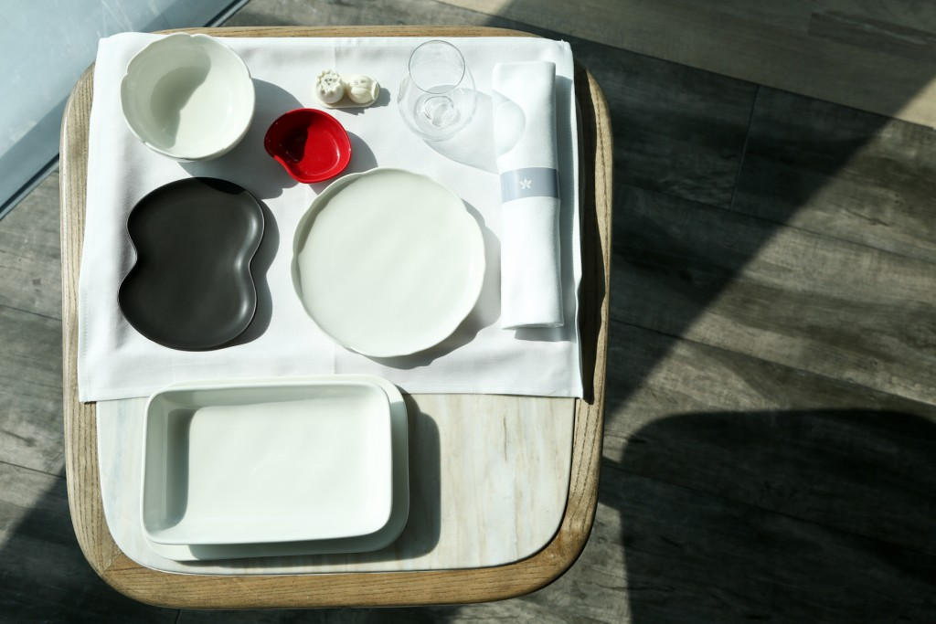 Birds eye view of new Business Class tableware
