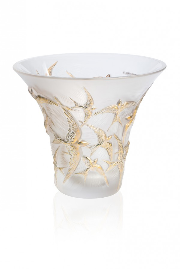 10623900 - Vase Hirondelles GM incolore tamponen or - BD
