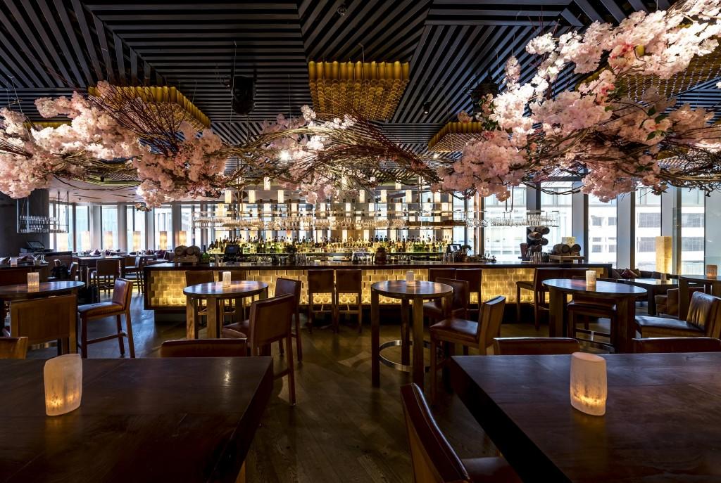 Caption Kirk Cheng's Sakura Installation, Yozakura, at Zuma Hong Kong - ...