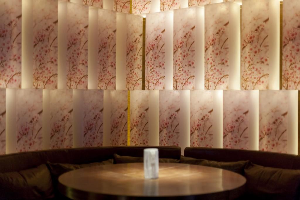 Caption Sakura lightboxes at Zuma Hong Kong –Image courtesy of Zuma Hong...