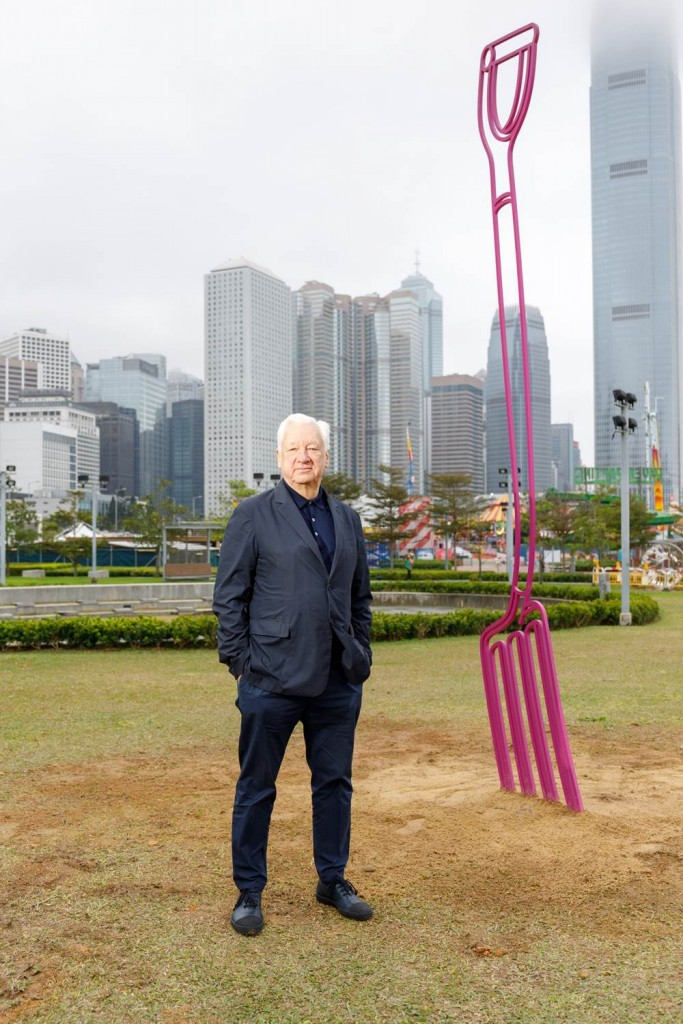 Harbour Arts Sculpture Park 2018, Installation view of Gardenfork (magenta), 2017, MICHAEL CRAIG-MARTIN