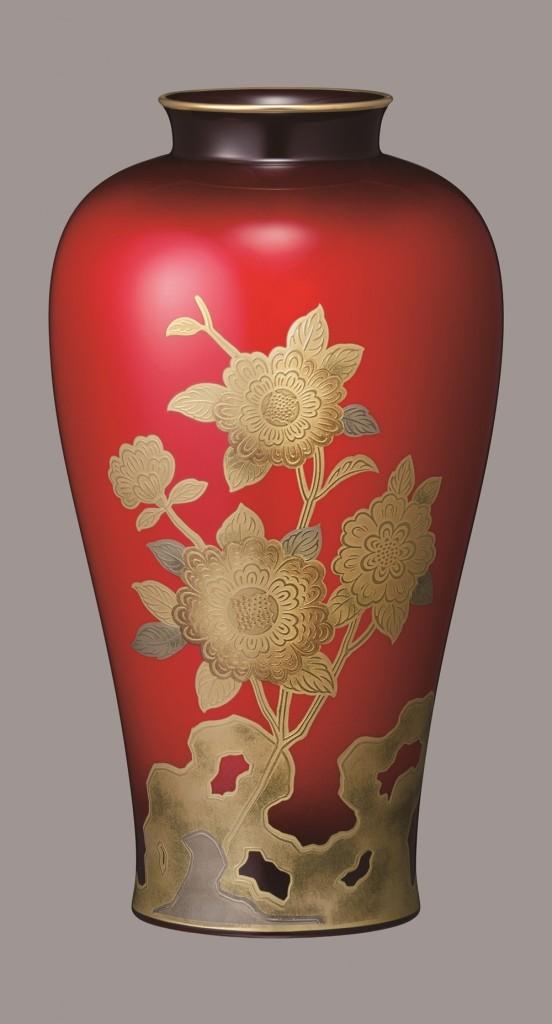 金盛薔薇紋 辰砂花瓶