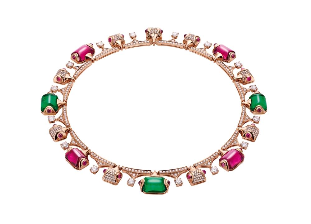 BVLGARI FESTA童年慶典系列 ROMAN EYE 頂級祖母綠與紅碧璽項鍊(262584)