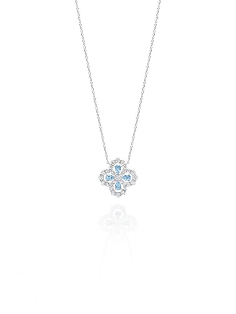 海瑞溫斯頓Diamond Loop珠寶系列實心花型海藍寶石鑽石鍊墜