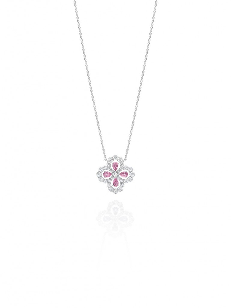海瑞溫斯頓Diamond Loop珠寶系列實心花型粉紅剛玉鑽石鍊墜