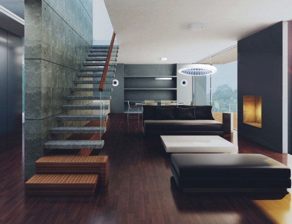 High quality 3D image of modern living room.