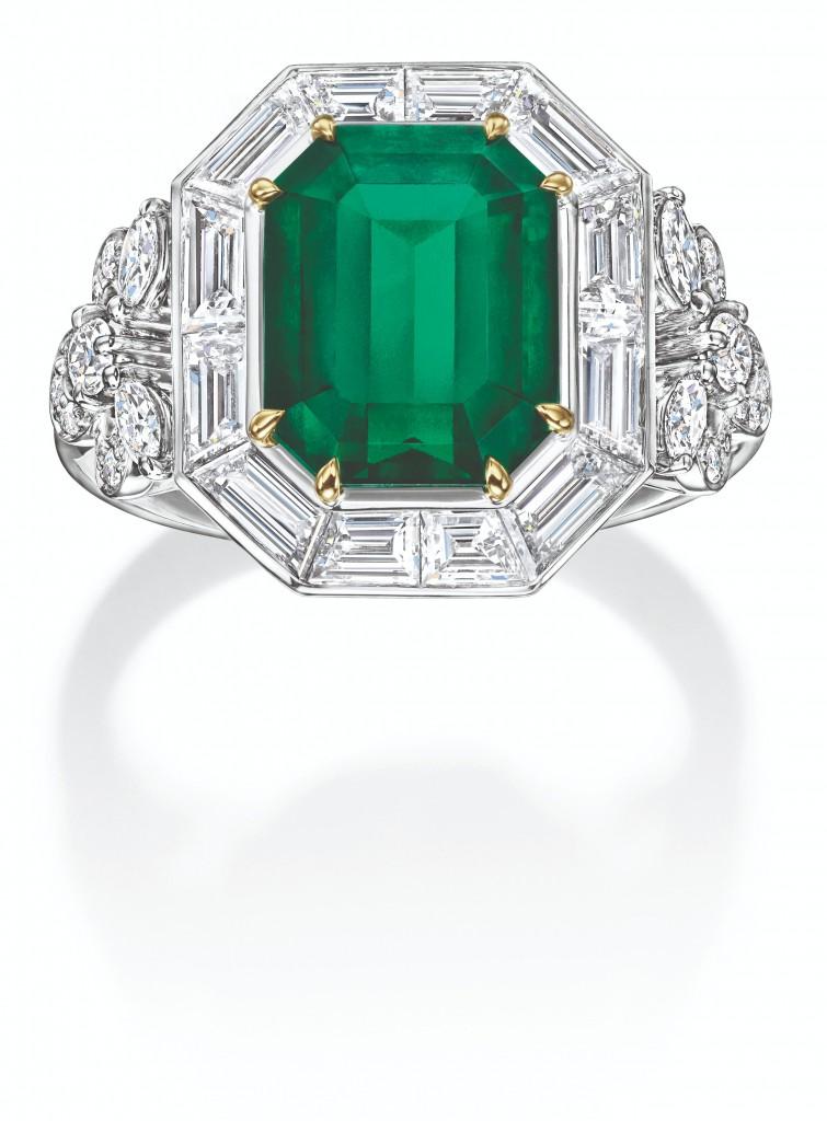 海瑞溫斯頓New York Collection 718 Emerald Vitrine祖母綠鑽石戒指