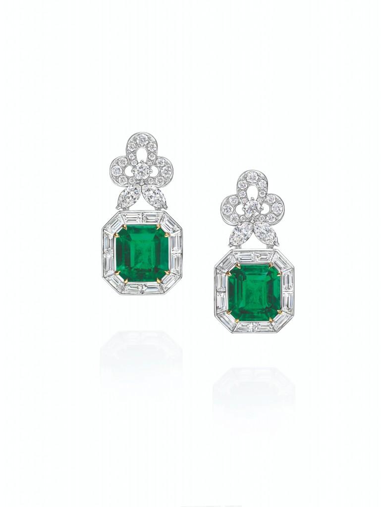 海瑞溫斯頓New York Collection 718 Emerald Vitrine 祖母綠鑽石耳環
