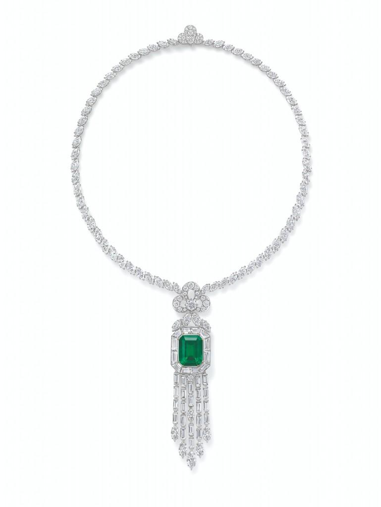 海瑞溫斯頓New York Collection 718 Emerald Vitrine 祖母綠鑽石項鍊