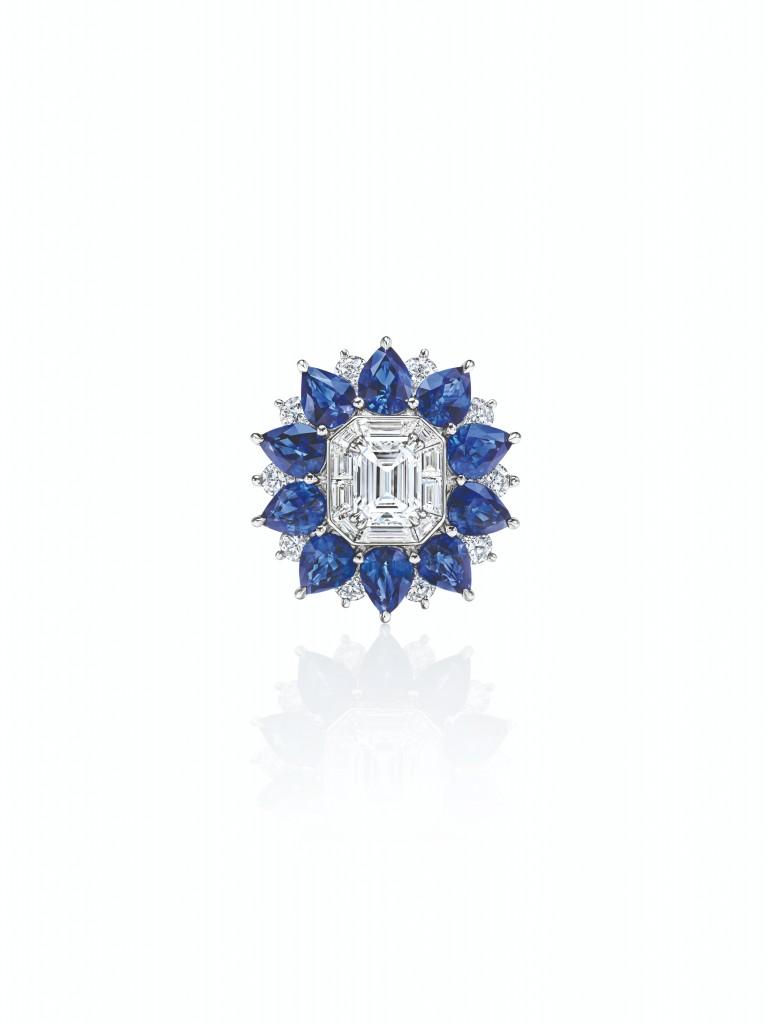 海瑞溫斯頓New York Collection 718 Marble Marquetry 藍寶石鑽石戒指