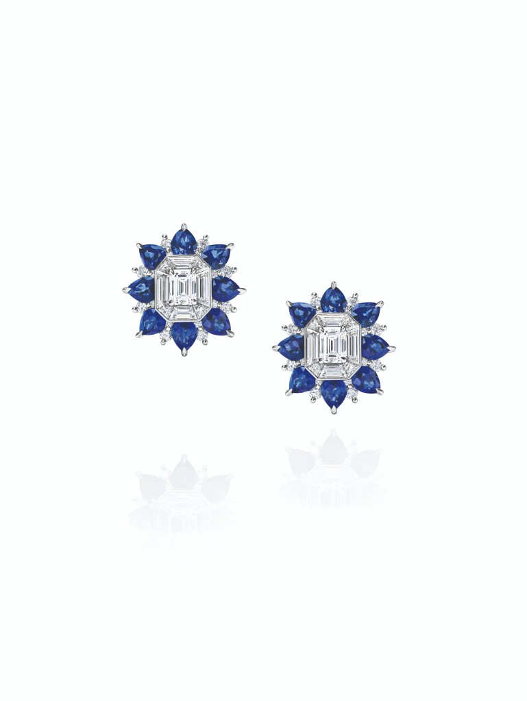 海瑞溫斯頓New York Collection 718 Marble Marquetry 藍寶石鑽石耳環