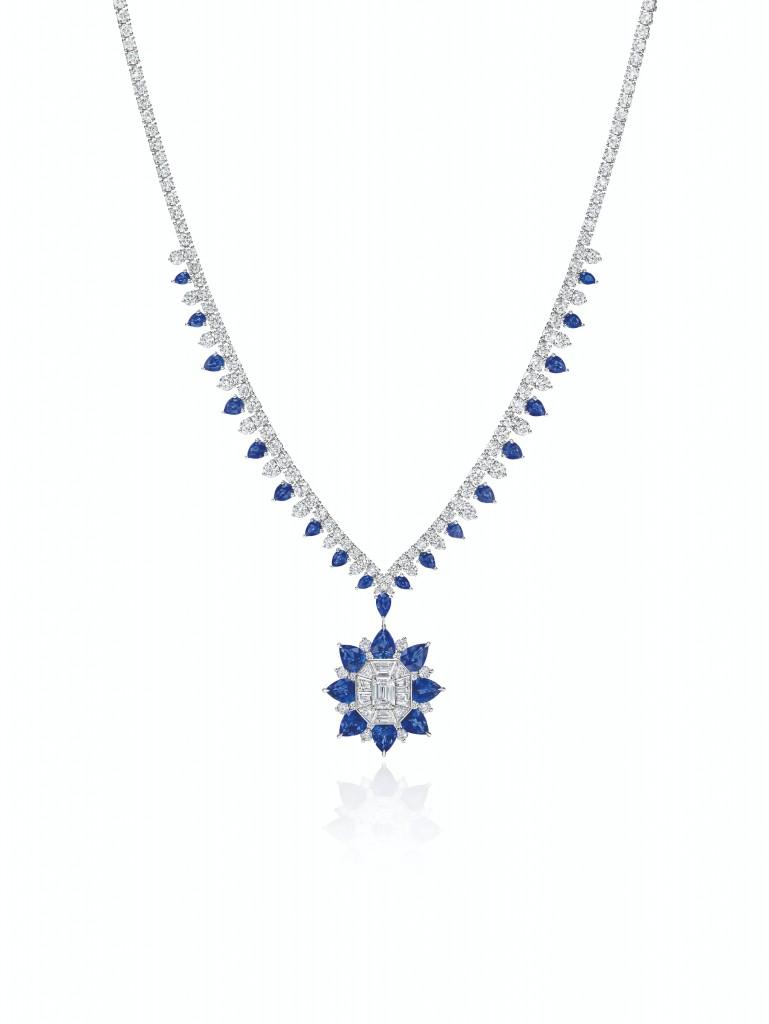 海瑞溫斯頓New York Collection 718 Marble Marquetry 藍寶石鑽石項鍊