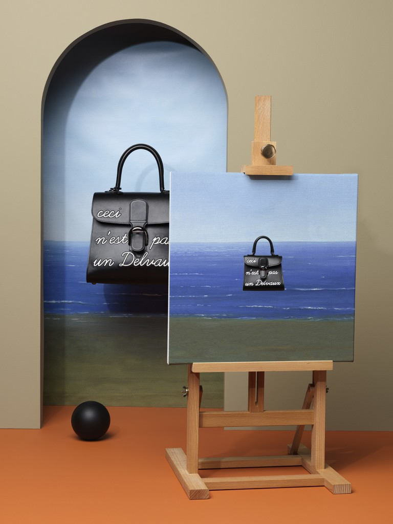 Magritte系列 黑色L_Humour中型牛皮肩揹包 $277,300