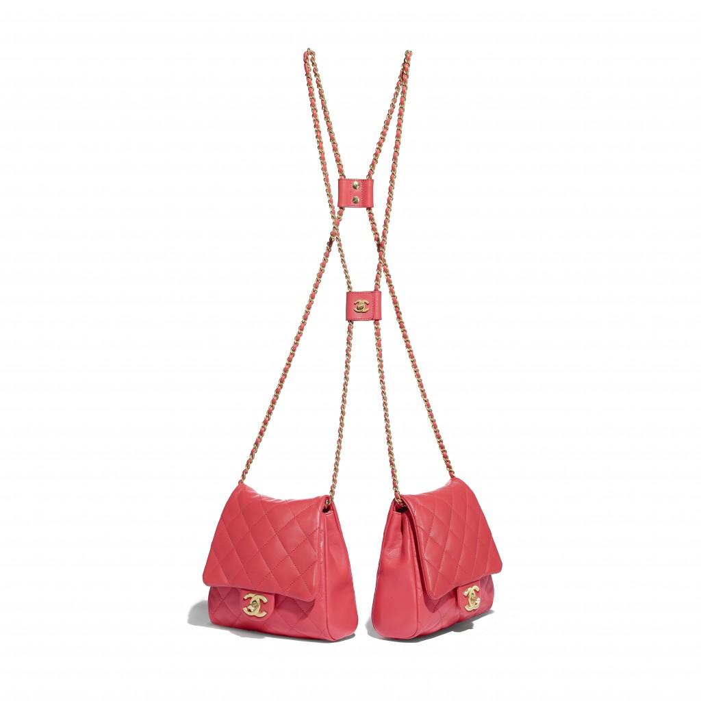 珊瑚橘釦式鏈帶雙包_小款 售價NT$216,800