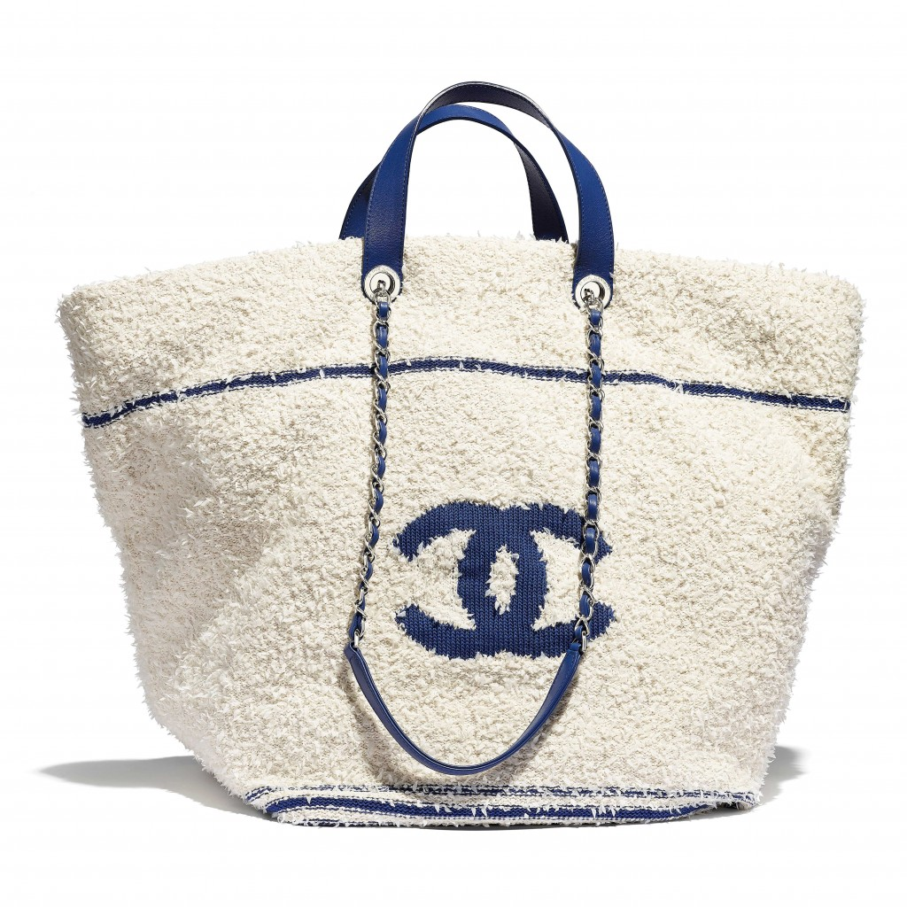 白色針織毛呢拼接藍色皮革提把托特包 售價$132,800 (1)