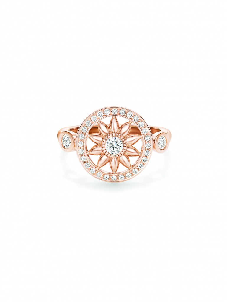Winston Gates18K玫瑰金環型花飾戒指