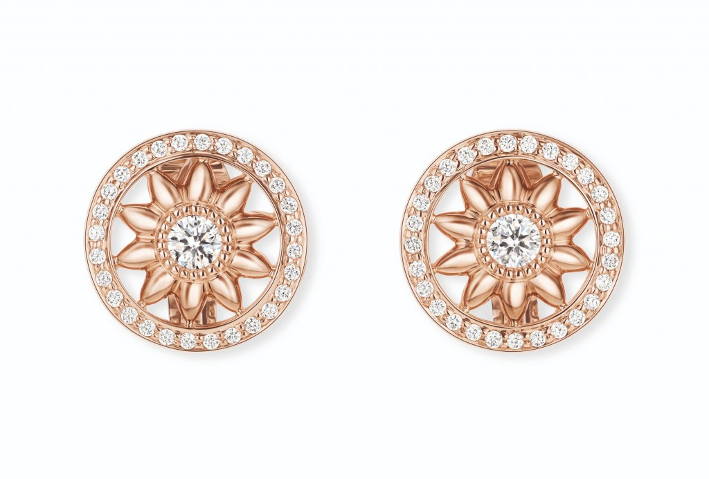 Winston Gates18K玫瑰金環型花飾耳環 (1)