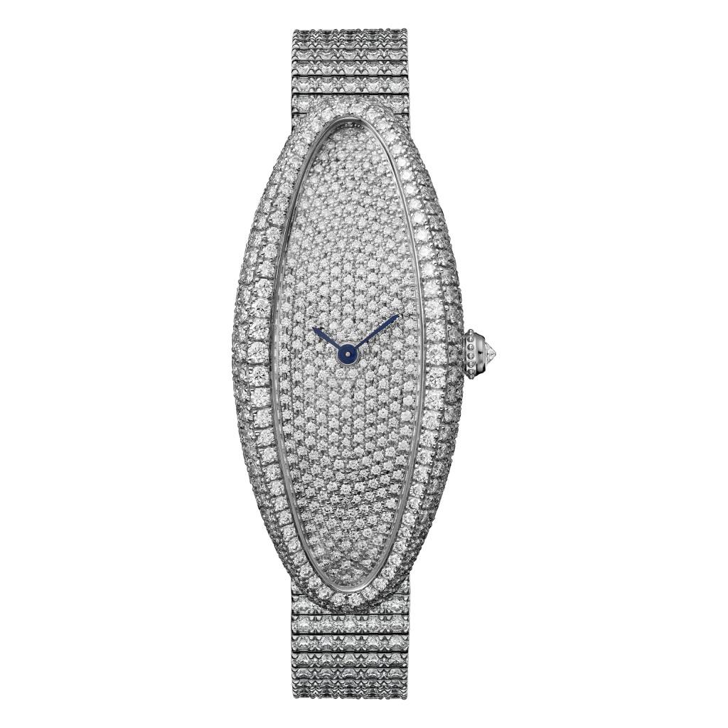 BAIGNOIRE ALLONGÉE腕錶-白K金鋪鑲-中型款