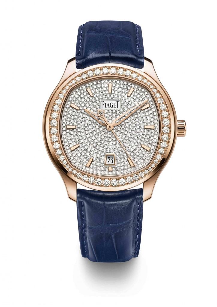 PIAGET Polo系列鋪鑲滿鑽錶盤18K玫瑰金自動上鍊腕錶,建議售價NT2,100,000 (1)