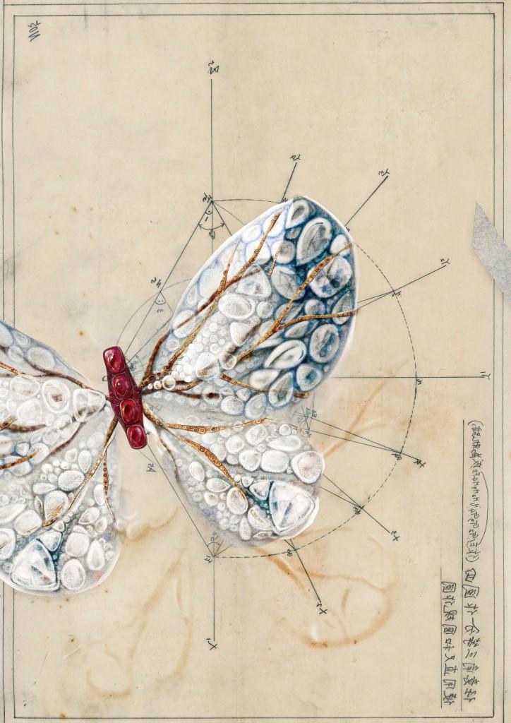極光蝴蝶創作理念建構於外祖父謝自南手繪建築圖
