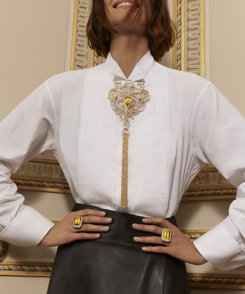 2019 HJ collection Paris, vu du 26 - Armoiries long necklace _ Duo Taille Emeraude rings