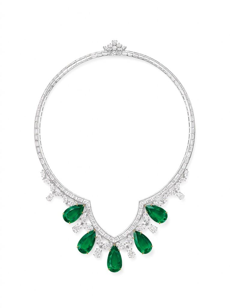 海瑞溫斯頓New York Collection Cathedral祖母綠寶石鑽石項鍊