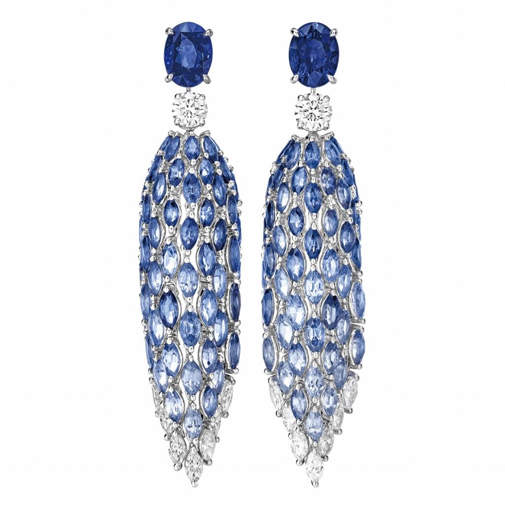 PIAGET Golden Oasis-Desert Minerals「蔚藍瀑布」藍寶石頂級珠寶鑽石耳環,建議售價NT$6,850,000_G38Q8900