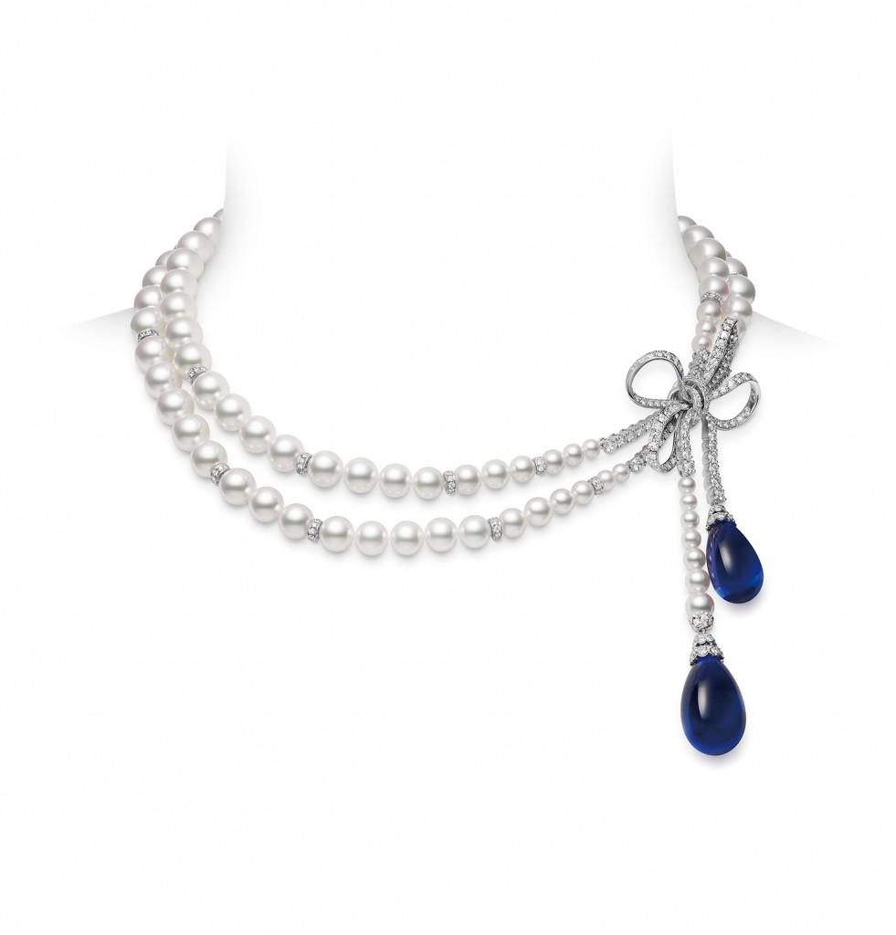 MIKIMOTO Jeux de Rubans頂級珠寶系列 – 蝴蝶結造型丹泉石項鍊